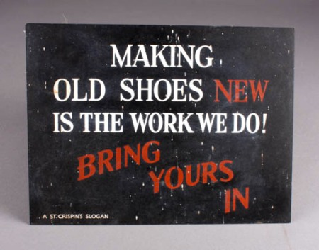 Advertising sign from Ken Mundy's cobbler shop - now at Market Lavington Museum