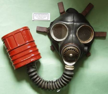 World War II gas mask as used by Bruce Gale of Market Lavington