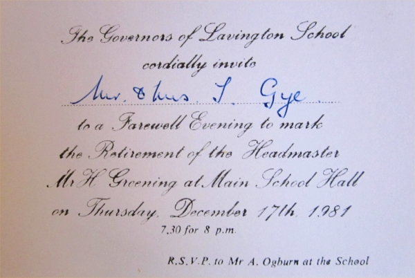 Harry greening market lavington museum card inviting tom and peggy gye to an evening to mark mr greenings retirement from lavington school stopboris Gallery