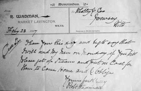 Memo from Robert Wadman of NMarket Lavington to Whatley and Co of Pewsey