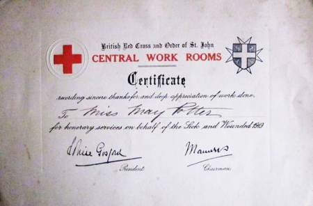 Red Cross Certificate earned by May Potter of Market Lavington in 1919