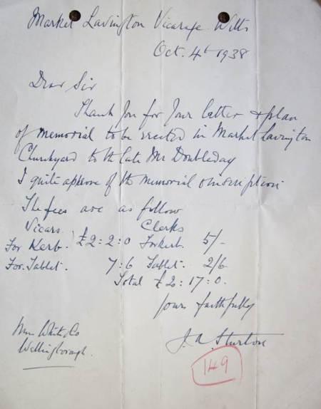 Letter from Reverend Sturton, Vicar of Market Lavington regarding the Doubleday memorial