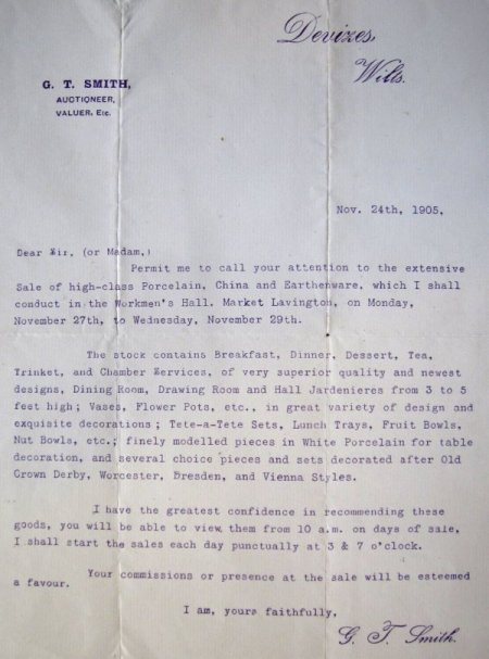 Circlar letter from George T Smith of Devizes advertising his sale days in Market Lavington
