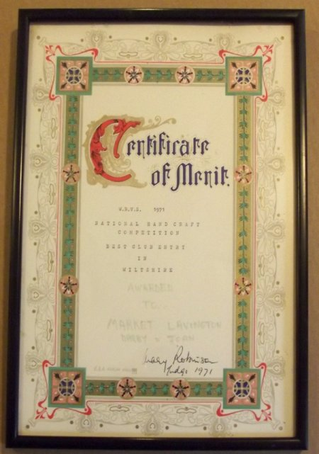 Certificate awarded to Market Lavington Darby and Joan Club in a handicraft competition