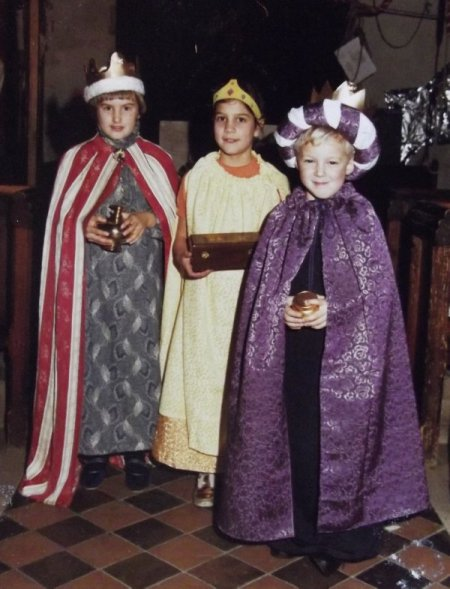 Three Market Lavington Kings for the Christingle service of 1984