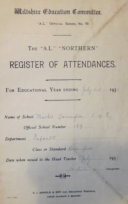 Market Lavington School register - the infants of 1937 - 1938