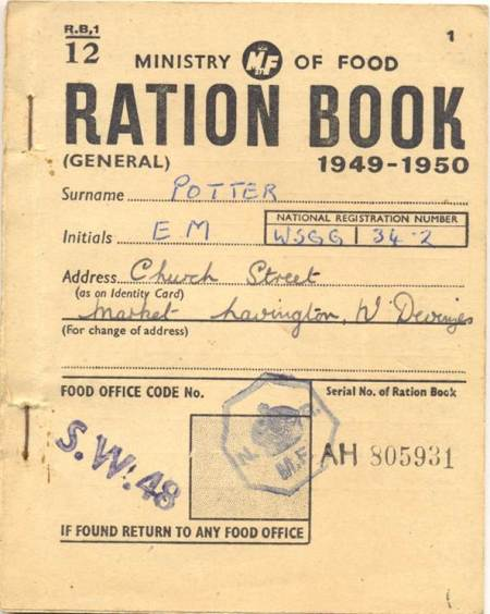 E M Potter's ration book for 1949/50 can be found at Market Lavington Museum