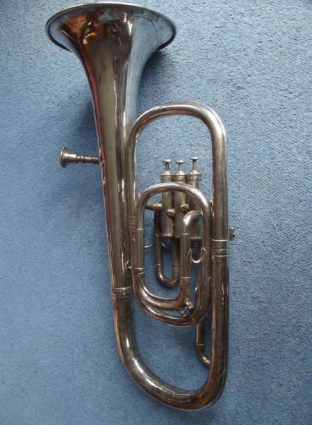 Eb horn formerly used by Market Lavington Prize Silver Band and now at Market Lavington Museum