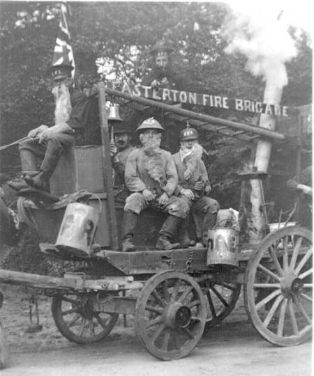 Easterton Fire Brigade - surely a carnival entry./ Can you help us with who the fireman are and when this photo was taken?