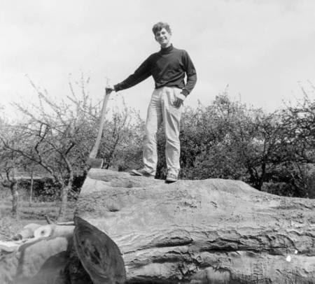Maurice Little on a felled tree at Beech House, Market Lavington