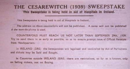 Book of 1939 Cesarewitch Sweepstake tickets at Market Lavington Museum