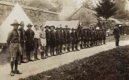 Lavington Scoputs at a scout camp between the two World Wars
