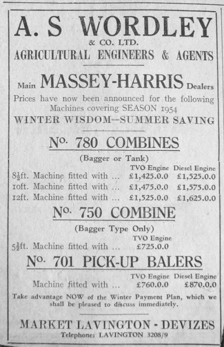 Advertisement for Wordley's Agricultural Engineers of Market Lavington. From a 1953 newspaper.
