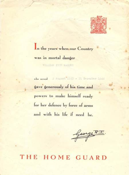 Certificate awarded to William Ivor Maslen of Market Lavington for service in the Home Guard