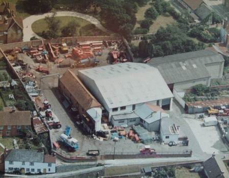 'Wilts Ag', Market Lavington from the air - about 1980