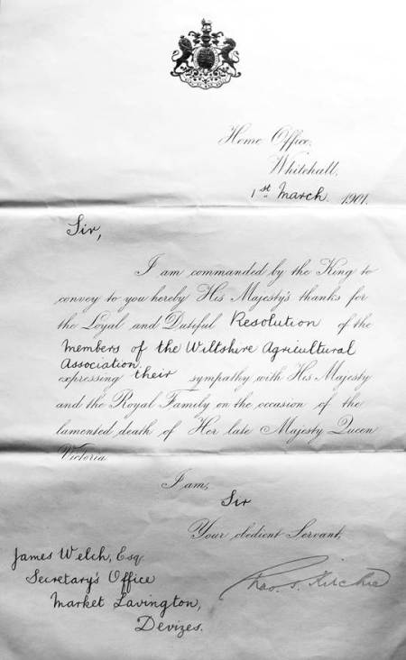 The letter to James was in his role as Secretary of the Wiltshire Agricultural Association