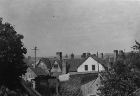 The back of Market Lavington's Co-op in 1958 showing the half timbered gables of the former Market Hall