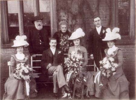 Wedding party at the marriage of Violet Wilson and Harold Jones in 1900. The photo was taken at The Vicarage, Market Lavington.