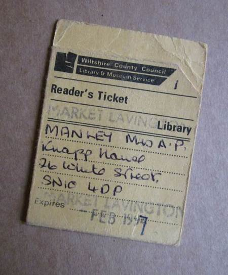 Old style library ticket belonging to a borrower at Market Lavington Library