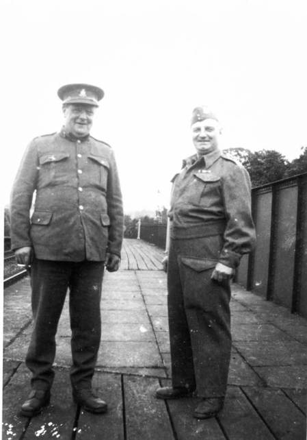 Xharlie Spreadbury and Sid Mullings on the platform of Lavington Station during World War II