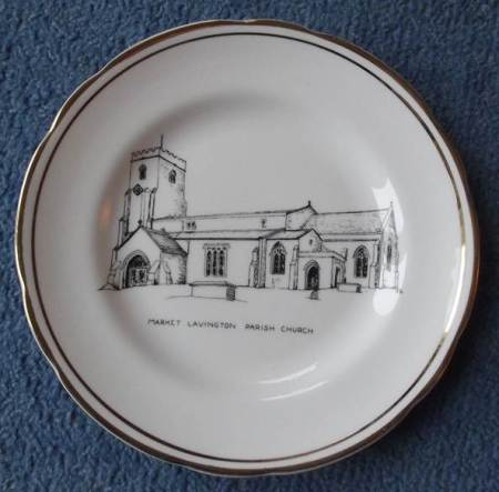 Commemorative Plate given to Market Lavington Museum shows the parish church