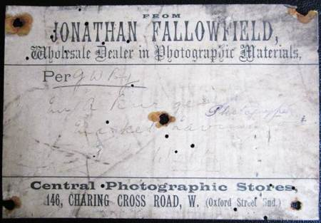 Label on a delivery of photographic materials to Alf Burgess of Market Lavington