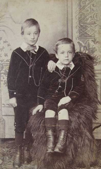 Charming CDV showing two lads - a photo at Market Lavington Museum
