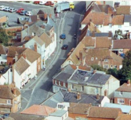 High Street, Market Lavington from the air in 1992