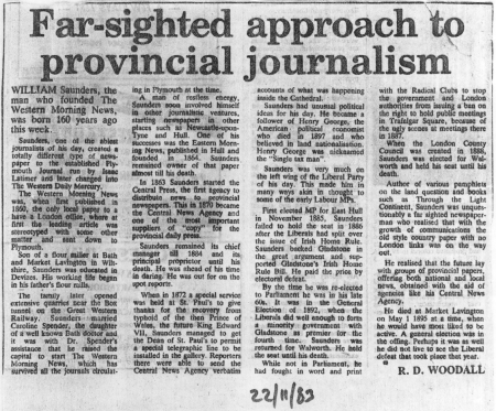William's story by his first paper - The Western Morning News
