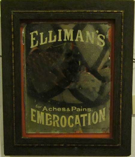 Mirror advertising Elliman's Embrocation. 100 years ago it was hung at Spring Villa in market Lavington.