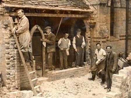 Easterton men building the vestry on St Barnabas Church in 1953