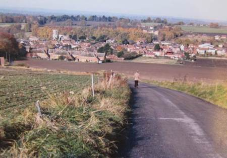 Market Lavington from the hill in about 1970
