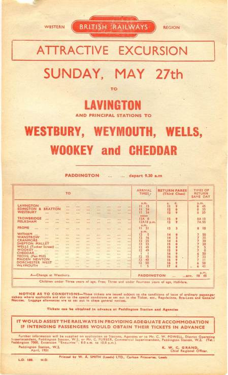 Handbill advertising an excursion to Lavington and beyond on May 27th 1951