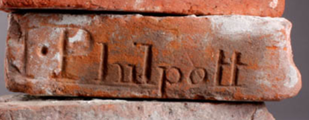 Brick inscribed Philpott at Market Lagvington Museum