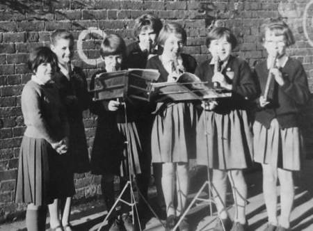 Market Lavington School recorder group in about 1960
