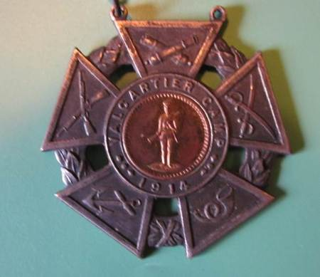 Medallion from Valcartier Camp, Canada, found in a house in Market Lavington
