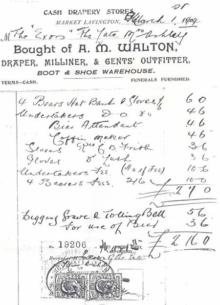 Bill for the funeral of Mrs Ashley of Market Lavington in 1904.
