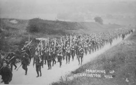 Marching up Lavington Hill in about 1909