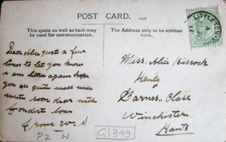The card was sent to Alice Hiscock, born and raised in Market Lavington