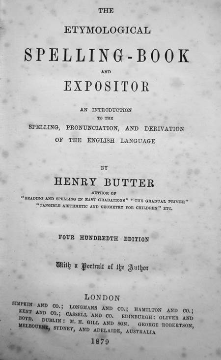 The title page of Butter's Spelling = published in 1879