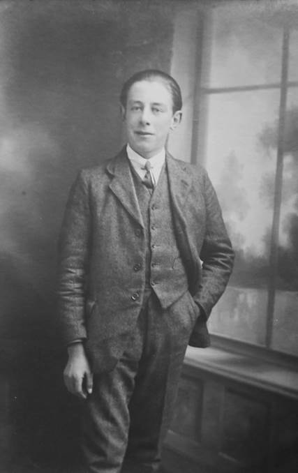 Bill Elisha in about 1918. Bill's father set up his tailoring business in Market Lavington in about 1910.