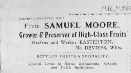 Samuel Moore of Easterton - headed paper of 1918