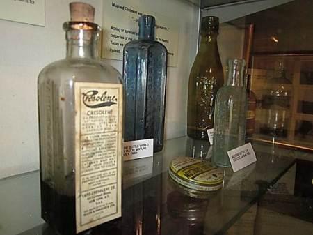 Medicine bottles and tins at Market Lavington Museum