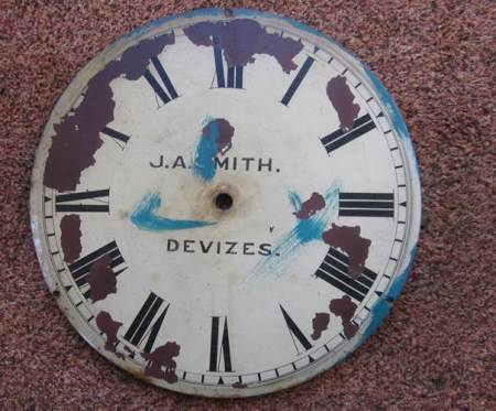 This J A Smith of Devizes clock face was onced the timekeeper in Market Lavington Baptist Chapel
