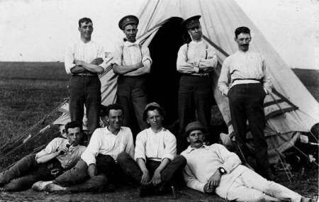 A group of men at a Pond Farm Camp probably about 1909.