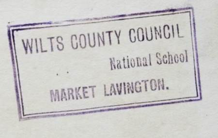 This book once belonged to Wiltshire County Council, kept at the National School in Market Lavington