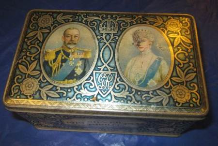 A 1935 Silver Jubilee tin - now at Market Lavington Museum