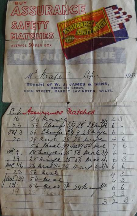 A 1938 bill from James the bakers of Market Lavington