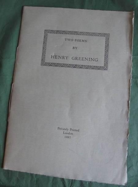 Two poems written by Harry Greening, Headmaster of Lavington School
