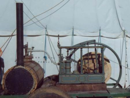 Steam engine made in market Lavington by William Cambridge. The engine dates from 1837. The photo was taken in 1971.